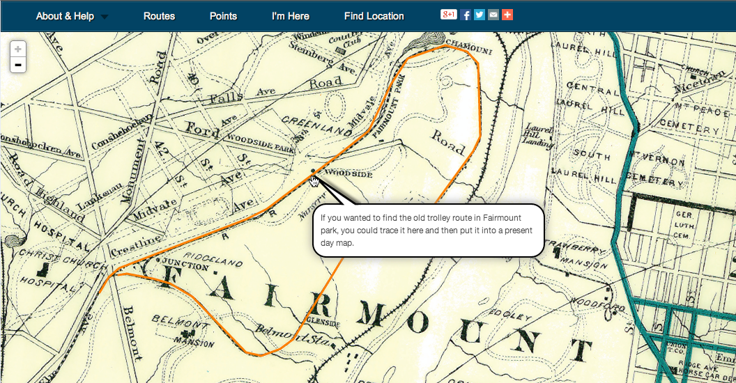 Image from WikiMapping of Fairmount Park in 1899